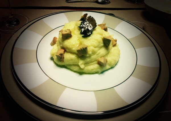 Purée de pommes de terre foie gras et truffe.