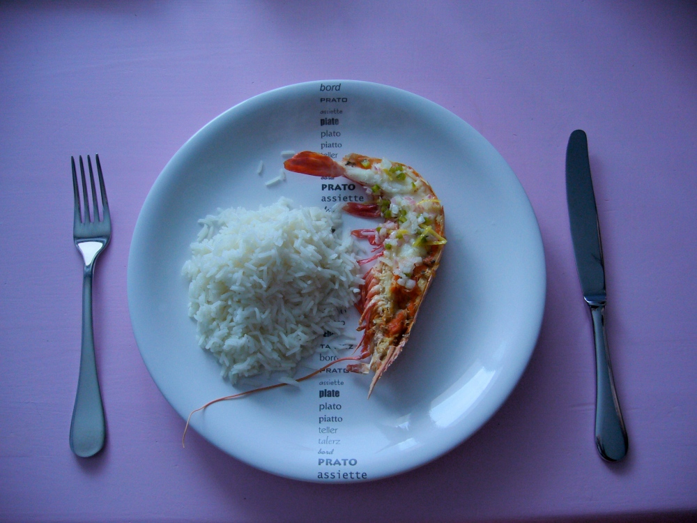 Camerone sauce chien riz basmati