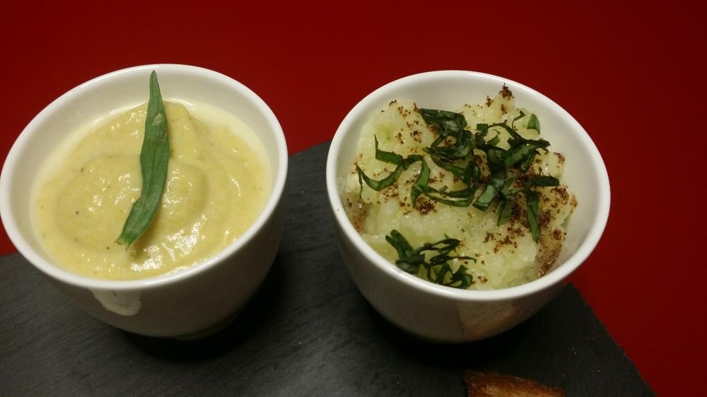 A gauche : courgette au curry estragon. A droite : concombre à la crème et au basilic