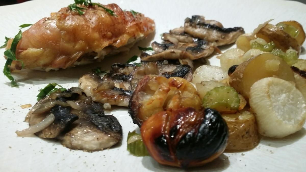 Suprême de poulet aux marrons et, autres légumes d'automne.