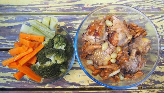 pintade-girolle-raisin-légumes-combinaisons alimentaires-sans gluten