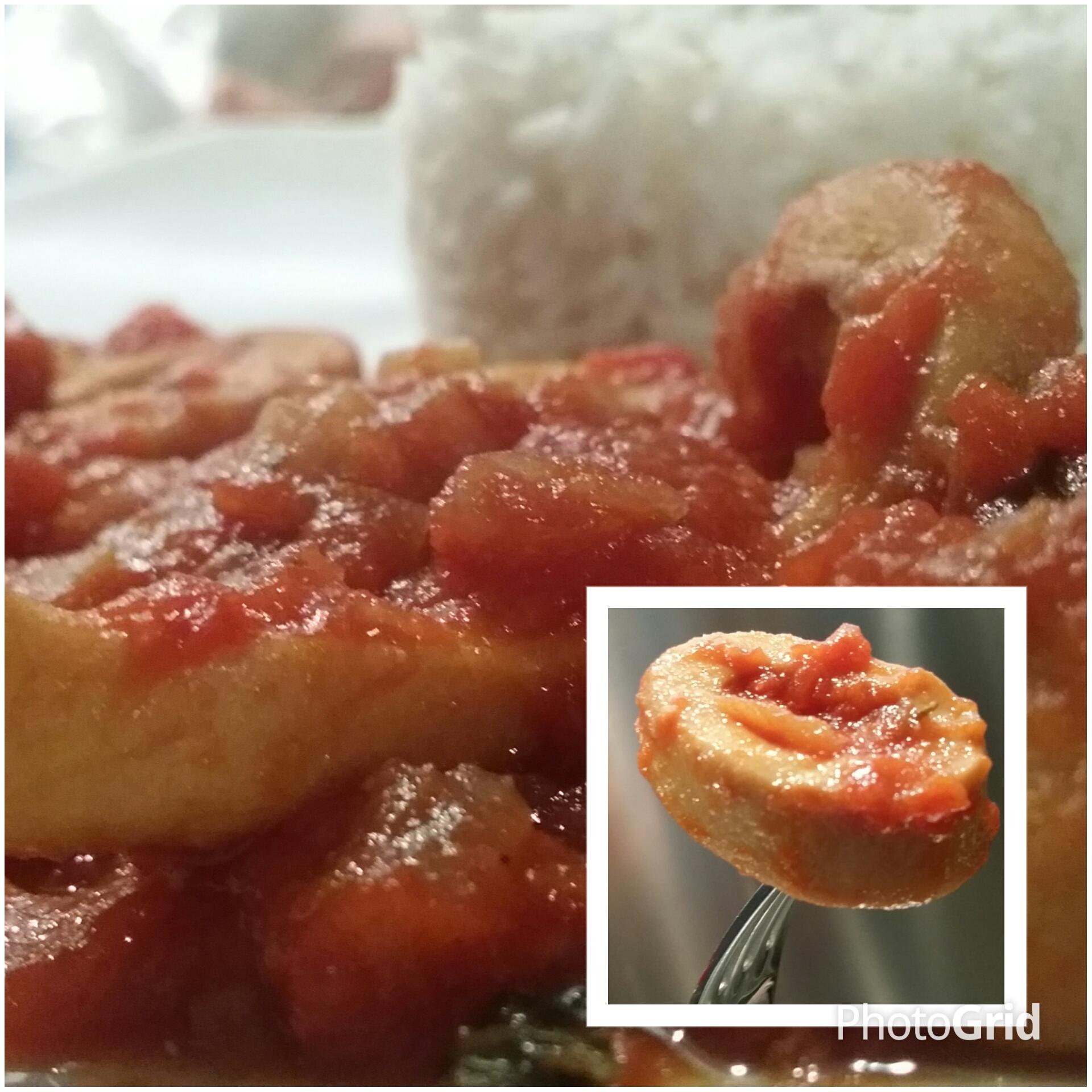 Encornets à la tomate - Riz basmati.