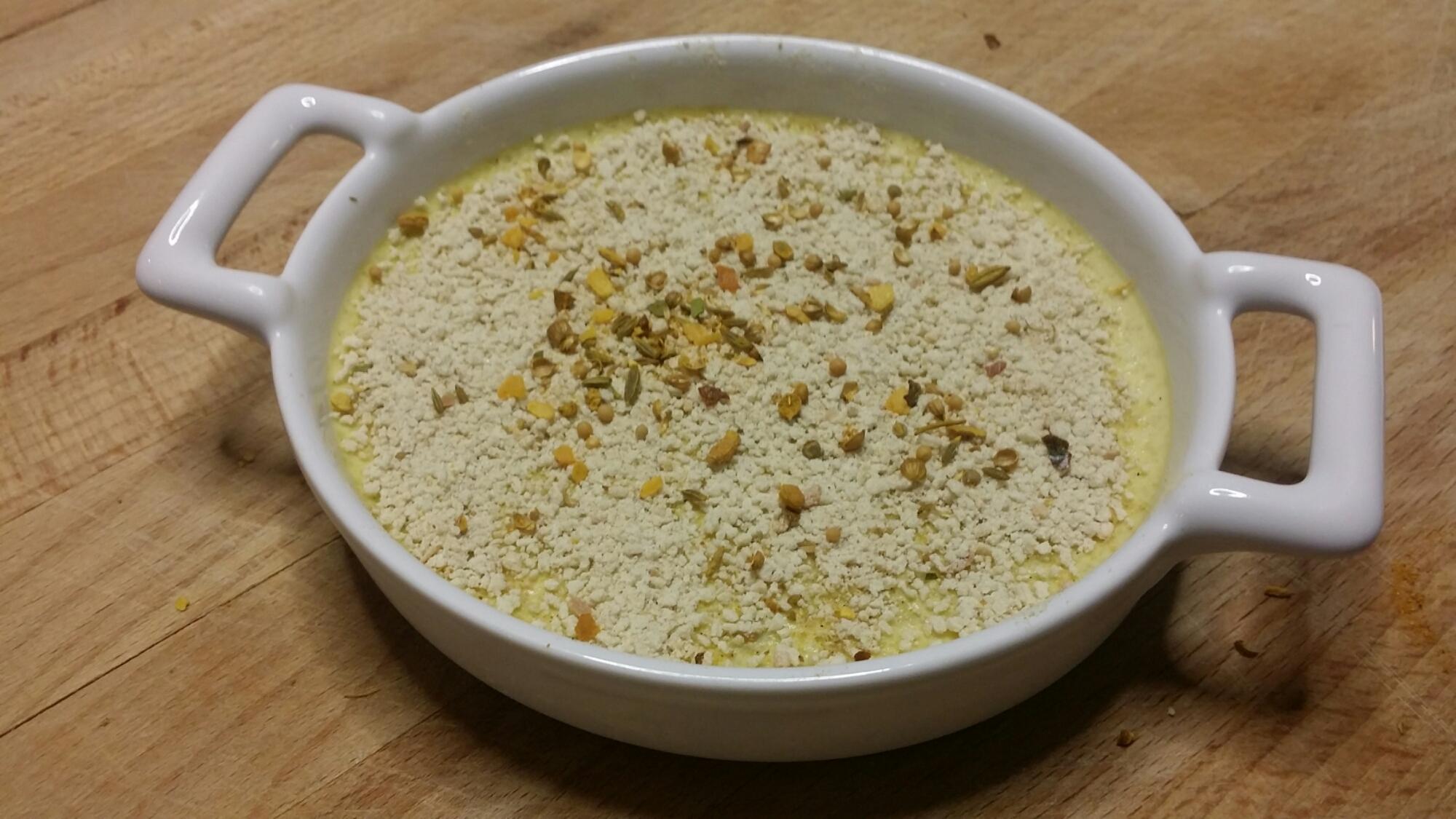 Crème brûlée mascarpone au fenouil et curry. Prête à dorer...
