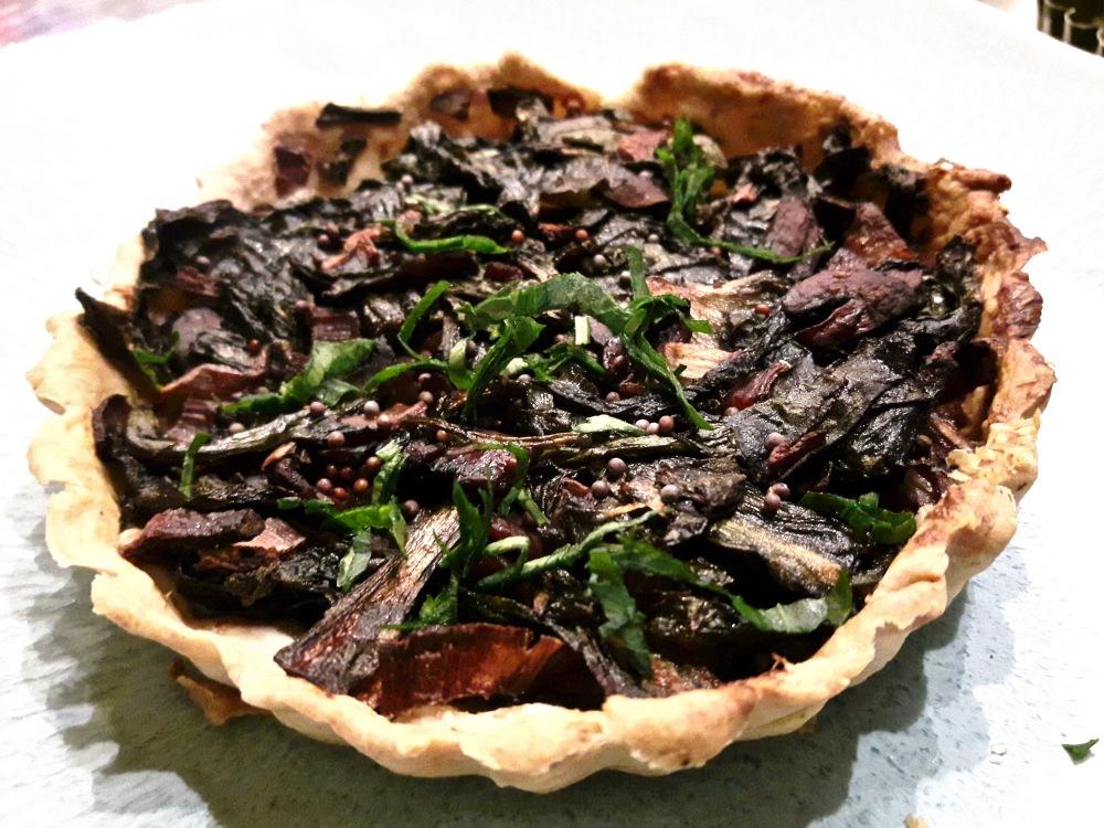 Petite tarte aux légumes verts et champignon