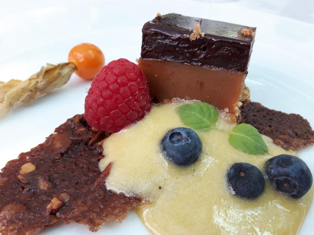 Caramel de chocolat...Sabayon à la menthe fraîche...
