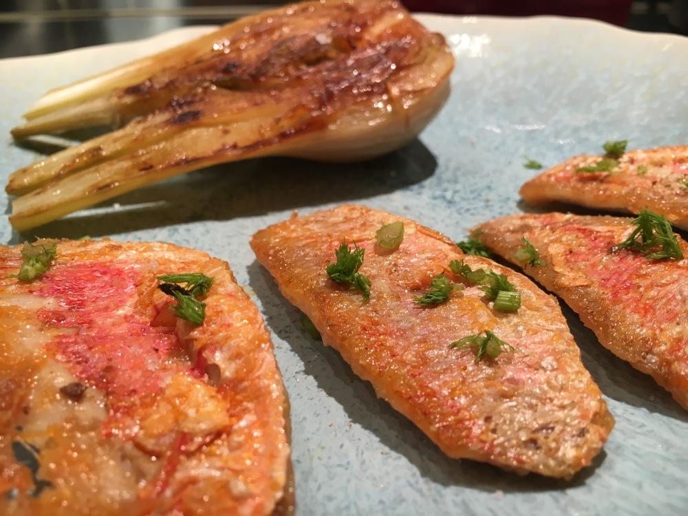 Filets de rougets et fenouils braisés.