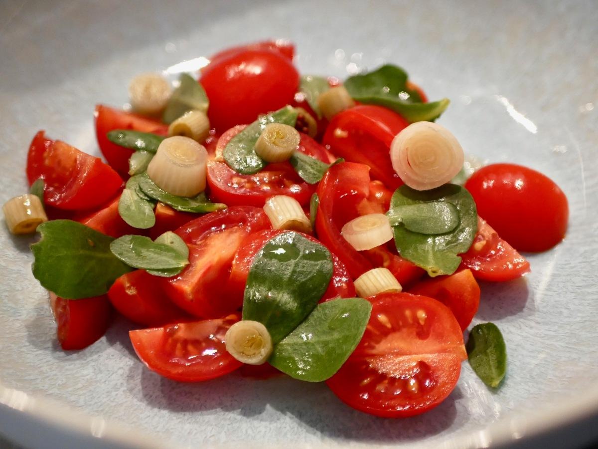 [Au jardin!] Salade de pourpier tomates cerises.