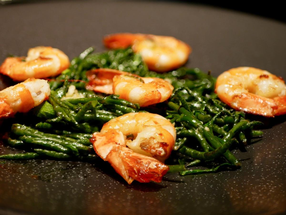 [Tinti'nesque!] Le secret de la Salicorne. Salicorne et crevettes grillées.