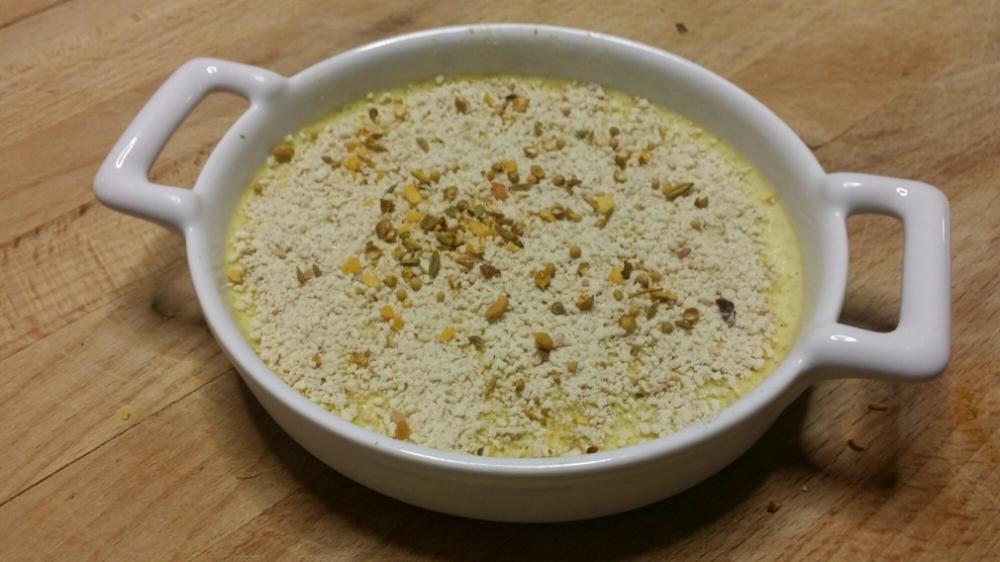 Crème brûlée mascarpone au fenouil et au curry.