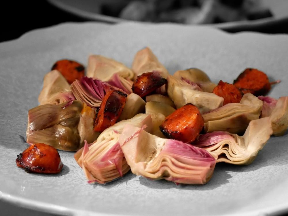 artichaut violets chorizo