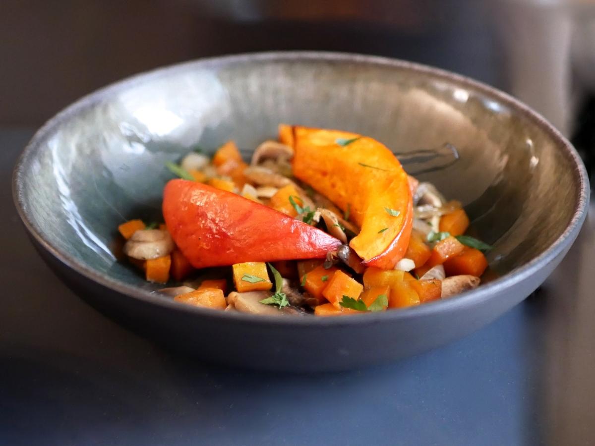 [Cuisine légère] Poêlée de légumes et potimarron rôti.